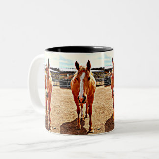 O cavalo dois do Palomino tonificou a caneca de