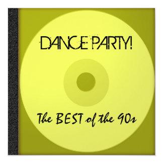 O CD do dance party convida Convite Quadrado 13.35 X 13.35cm