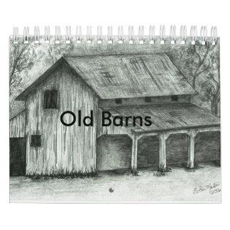 O celeiro velho esboça o calendário