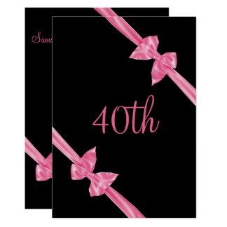 O cetim cor-de-rosa elegante curva o aniversário convite 12.7 x 17.78cm