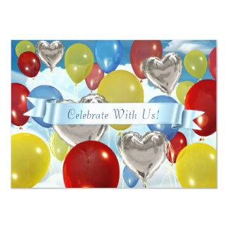 O céu colorido Balloons convites customizáveis