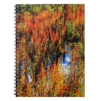 O céu entre a grama na lagoa cadernos espiral