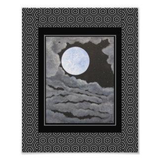 O céu nocturno da Lua cheia da lua do Natal Impressão De Fotos