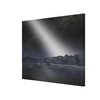 O céu nocturno de um planeta estrangeiro impressão de canvas envolvidas