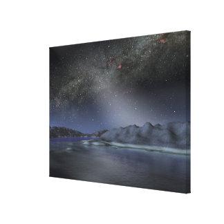 O céu nocturno de um planeta estrangeiro impressão em tela