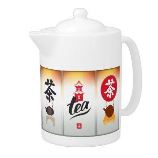 O chá chinês etiqueta o bule