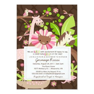 O chá cor-de-rosa do bebé da selva do safari ou convite 12.7 x 17.78cm