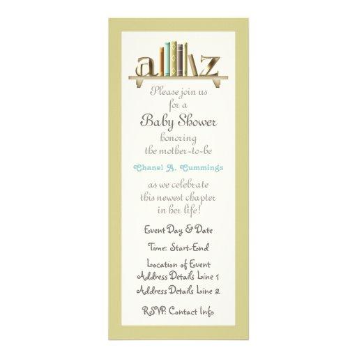 O chá customizável do livro do bebê do A-Z convida Convites