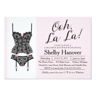 O chá da lingerie convida, laço preto & convite 12.7 x 17.78cm