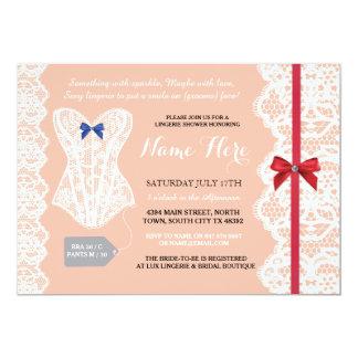 O chá da lingerie convida o laço nupcial vermelho convite 12.7 x 17.78cm