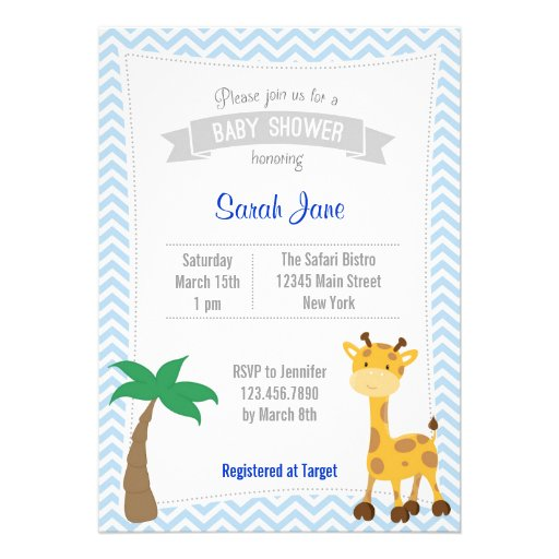 O chá de fraldas animal do girafa do safari convid convites personalizado