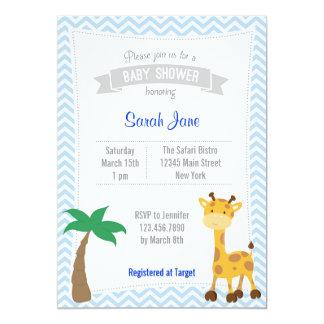 O chá de fraldas animal do girafa do safari convite 12.7 x 17.78cm