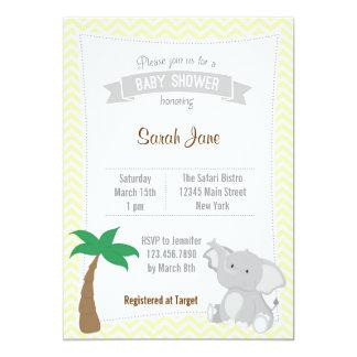 O chá de fraldas animal do safari do elefante convite 12.7 x 17.78cm