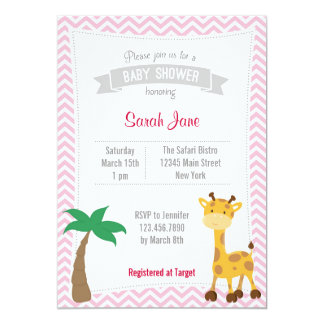O chá de fraldas animal dos girafas do safari convite 12.7 x 17.78cm