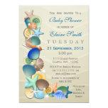 o chá de fraldas azul do tema arenoso do oceano convite 12.7 x 17.78cm