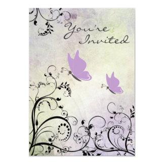 O chá de fraldas bonito da borboleta da silhueta convite 12.7 x 17.78cm
