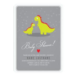 O chá de fraldas cinzento do dinossauro à moda convite 12.7 x 17.78cm