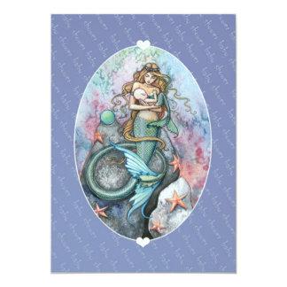 O chá de fraldas convida a sereia e o bebê dos convites