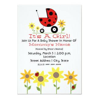 O chá de fraldas convida - joaninhas e Wildflowers Convite 12.7 X 17.78cm