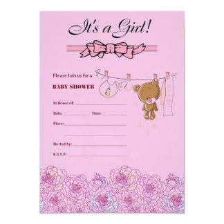 O chá de fraldas convida para uma menina convite 12.7 x 17.78cm