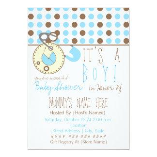 O chá de fraldas convida - Pin azul da fralda & Convites Personalizados