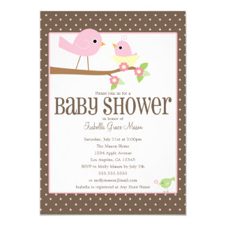 O chá de fraldas cor-de-rosa dos passarinhos | convite 12.7 x 17.78cm