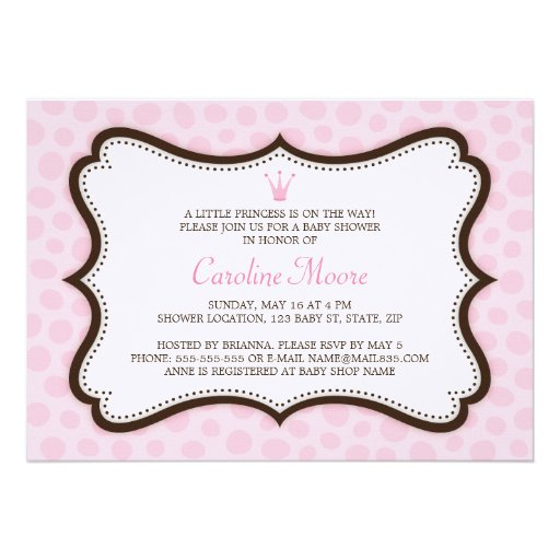 O chá de fraldas cor-de-rosa e marrom da princesa  convite