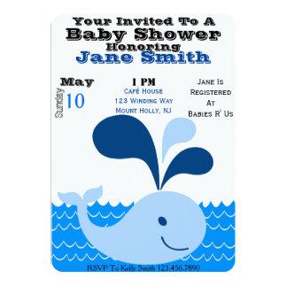 O chá de fraldas da baleia convida (o menino) convite 12.7 x 17.78cm