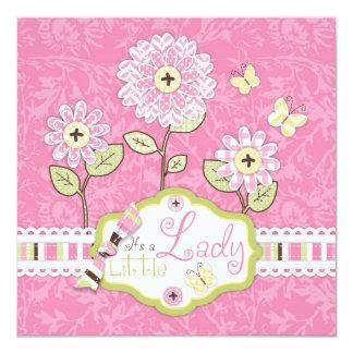 O chá de fraldas da flor do Applique-olhar convida Convite Quadrado 13.35 X 13.35cm
