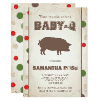 O chá de fraldas de BabyQ, bebê Q do CHURRASCO Convite 12.7 X 17.78cm
