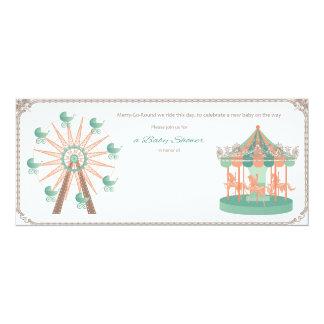 O chá de fraldas do carrossel convida convite 10.16 x 23.49cm