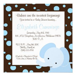 o chá de fraldas do elefante convida o azul marrom convites personalizados
