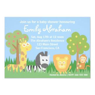 O chá de fraldas do tema dos animais do safari convite personalizado