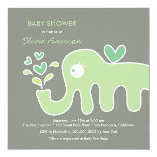 o chá de fraldas neutro do elefante verde do convites personalizado