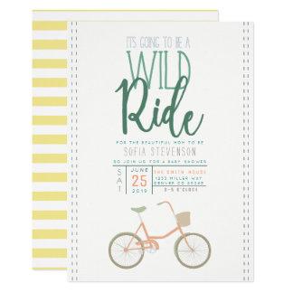 O chá de fraldas retro da bicicleta convida convite 12.7 x 17.78cm