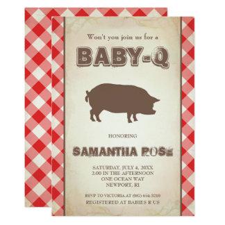 O chá de fraldas vermelho de BabyQ, bebê Q do Convite 12.7 X 17.78cm