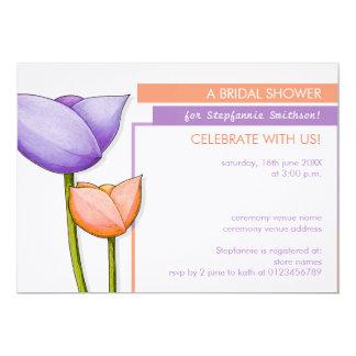 O chá de panela alaranjado roxo das flores simples convite personalizado