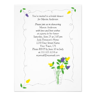O chá de panela amarelo roxo das flores da tulipa  convite