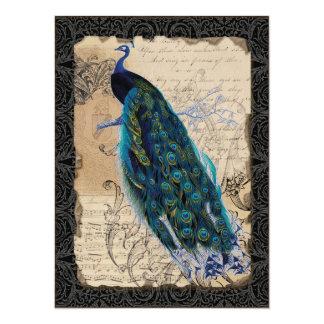 O chá de panela antigo do pavão convida - o preto convite 13.97 x 19.05cm