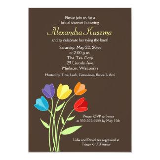 O chá de panela da flor 5x7 da tulipa convida convite