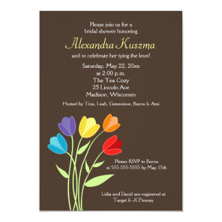 O chá de panela da flor 5x7 da tulipa convida convite 12.7 x 17.78cm