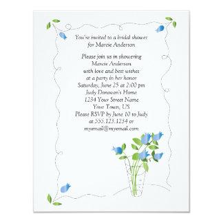 O chá de panela das flores da tulipa azul convida convite 10.79 x 13.97cm