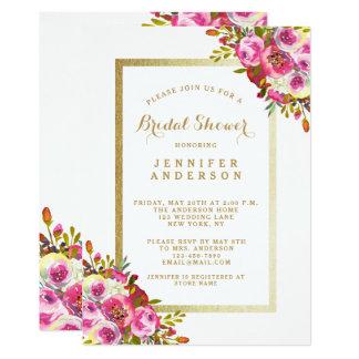 O chá de panela floral chique convida o rosa do convite 12.7 x 17.78cm