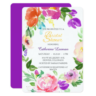 O chá de panela floral da grinalda do primavera convite 12.7 x 17.78cm