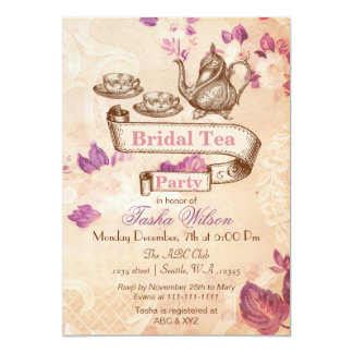 o chá de panela floral do tea party do vintage convite 12.7 x 17.78cm