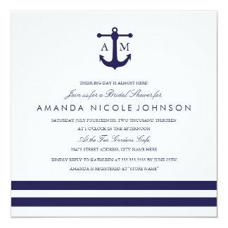O chá de panela náutico do marinho convida convite quadrado 13.35 x 13.35cm