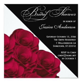 O chá de panela preto e branco das rosas vermelhas convite quadrado 13.35 x 13.35cm