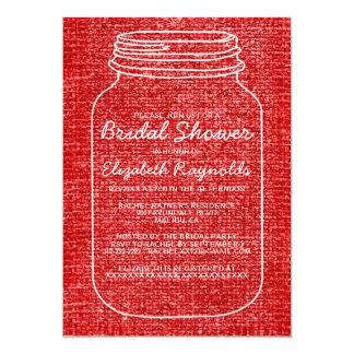 O chá de panela rústico branco vermelho do frasco convites