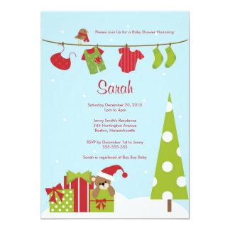 O chá do bebé do Clothesline do Natal convida Convites