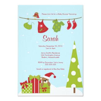 O chá do bebé do Clothesline do Natal convida Convite 12.7 X 17.78cm